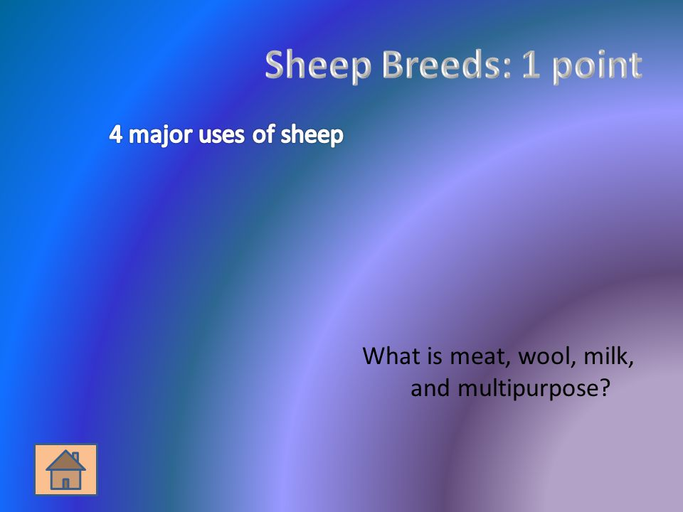 What is meat, wool, milk, and multipurpose?