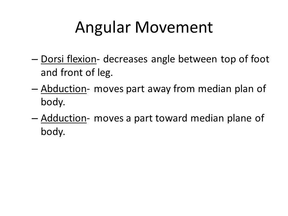 Angular Movement – Dorsi flexion- decreases angle between top of foot and front of leg. – Abduction- moves part away from median plan of body. – Adduc