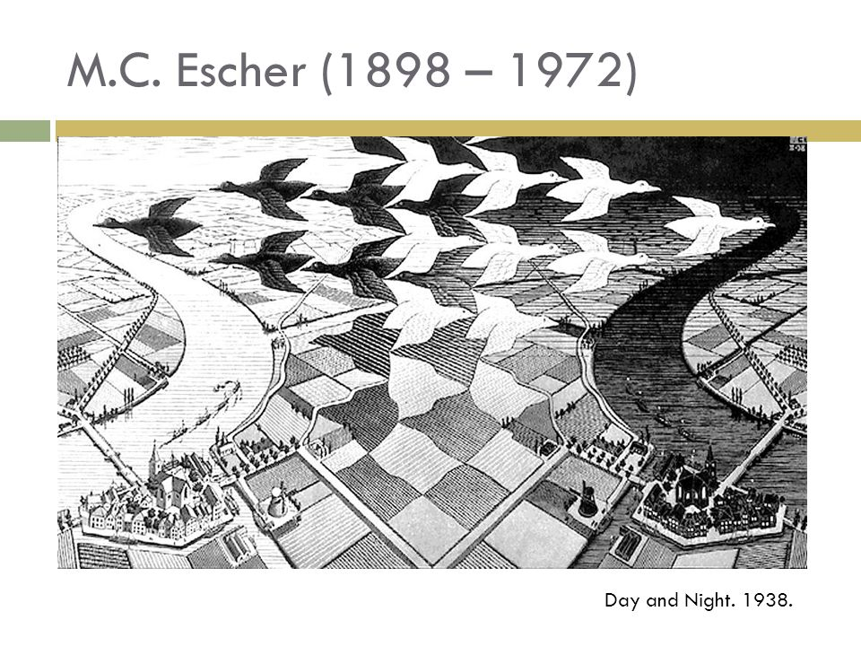 M.C. Escher (1898 – 1972) Day and Night. 1938.