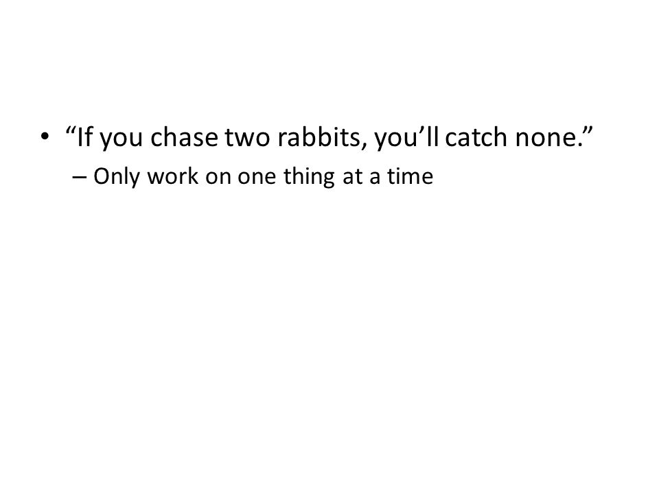 If you chase two rabbits, you'll catch none. – Only work on one thing at a time