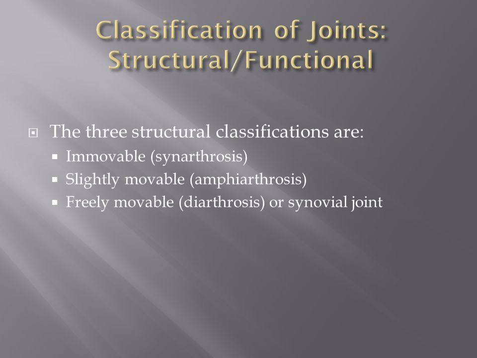  The three structural classifications are:  Immovable (synarthrosis)  Slightly movable (amphiarthrosis)  Freely movable (diarthrosis) or synovial joint