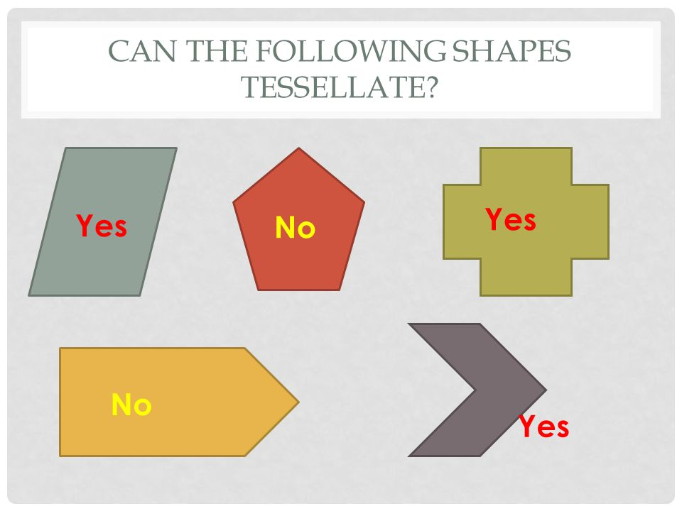 CAN THE FOLLOWING SHAPES TESSELLATE Yes No