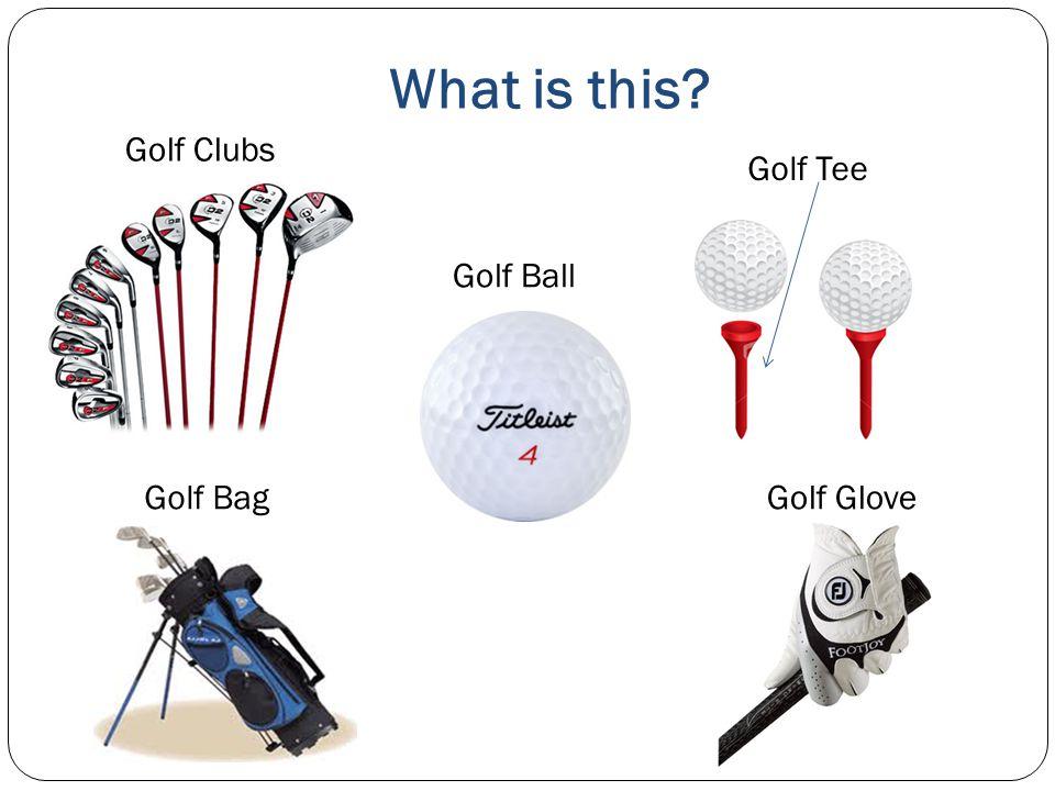 What is this? Golf Clubs Golf Tee Golf Bag Golf Ball Golf Glove