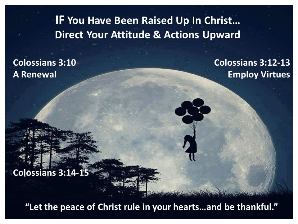 IF You Have Been Raised Up In Christ… Direct Your Attitude & Actions Upward Colossians 3:10 A Renewal Colossians 3:12-13 Employ Virtues Colossians 3:14-15 Let the peace of Christ rule in your hearts…and be thankful.