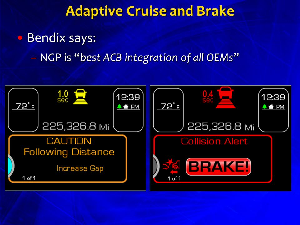 Adaptive Cruise and Brake Bendix says:Bendix says: –NGP is best ACB integration of all OEMs