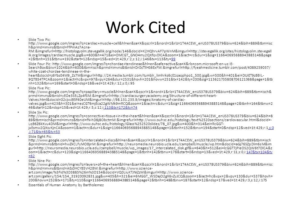 Work Cited Slide Two Pic: http://www.google.com/imgres q=cardiac+muscle+cell&hl=en&sa=X&qscrl=1&nord=1&rlz=1T4ACEW_enUS378US379&biw=624&bih=889&tbm=isc h&prmd=imvns&tbnid=FfPmAz7Acna- RM:&imgrefurl=http://histologyolm.stevegallik.org/node/146&docid=K2HQhrvAF7pWnM&imgurl=http://stevegallik.org/sites/histologyolm.stevegall ik.org/images/cardiacmuscle.jpg&w=600&h=471&ei=DMCGT_GNO4my2QXfqvDlCA&zoom=1&iact=rc&dur=1&sig=116640695688943885148&page =2&tbnh=151&tbnw=192&start=12&ndsp=15&ved=1t:429,r:2,s:12,i:146&tx=113&ty=9999 Slide Four Pic: http://www.google.com/imgres q=chordae+tendineae&hl=en&safe=active&sa=X&rls=com.microsoft:en-us:IE- SearchBox&biw=1024&bih=600&tbm=isch&prmd=imvns&tbnid=Dr0sTllHS6ExFM:&imgrefurl=http://fyeahmedicine.tumblr.com/post/4089259037/ white-coat-chordae-tendineae-in-the- heart&docid=z6YbsE4M9_Zs7M&imgurl=http://24.media.tumblr.com/tumblr_limhrks6cE1qaqphpo1_500.jpg&w=500&h=401&ei=DUiET9zBBIL- 9QTB54TPCA&zoom=1&iact=hc&vpx=97&vpy=264&dur=2531&hovh=201&hovw=251&tx=142&ty=200&sig=113621735808706121368&page=1&tb nh=132&tbnw=169&start=0&ndsp=18&ved=1t:429,r:12,s:0,i:95 Slide Five Pic: http://www.google.com/imgres q=papillary+muscle&hl=en&sa=X&qscrl=1&nord=1&rlz=1T4ACEW_enUS378US379&biw=624&bih=889&tbm=isch& prmd=imvns&tbnid=yEOe3S5LZp4fSM:&imgrefurl=http://cardiacsurgeryacademy.org/Structure-of-different-heart- Valves.html&docid=02cjwJB5f40eUM&imgurl=http://98.131.235.9/images/Anatomy-of-cardiac- valves.jpg&w=423&h=301&ei=esCGT6mjEca22gWMk9mRCQ&zoom=1&iact=rc&dur=1&sig=116640695688943885148&page=2&tbnh=164&tbnw=2 46&start=12&ndsp=15&ved=1t:429,r:5,s:12,i:113&tx=172&ty=74:113&tx=172&ty=74 Slide Six Pic: http://www.google.com/imgres q=connective+tissue+in+the+heart&hl=en&sa=X&qscrl=1&nord=1&rlz=1T4ACEW_enUS378US379&biw=624&bih=8 89&tbm=isch&prmd=imvns&tbnid=fN-hD8j8ObctmM:&imgrefurl=http://www.ouhsc.edu/histology/text%2520sections/cardiovascular.html&docid=- LqB6Z6kXvu4DM&imgurl=http://www.ouhsc.edu/histology/Glass%252520slides/78_07.jpg&w=400&h=314&
