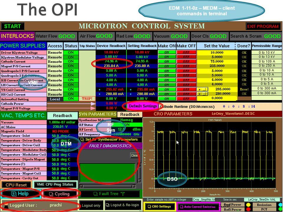 17 The OPI EDM 1-11-0z – MEDM – client commands in terminal VME RF Syn DSO DTM Jan 22, 2010