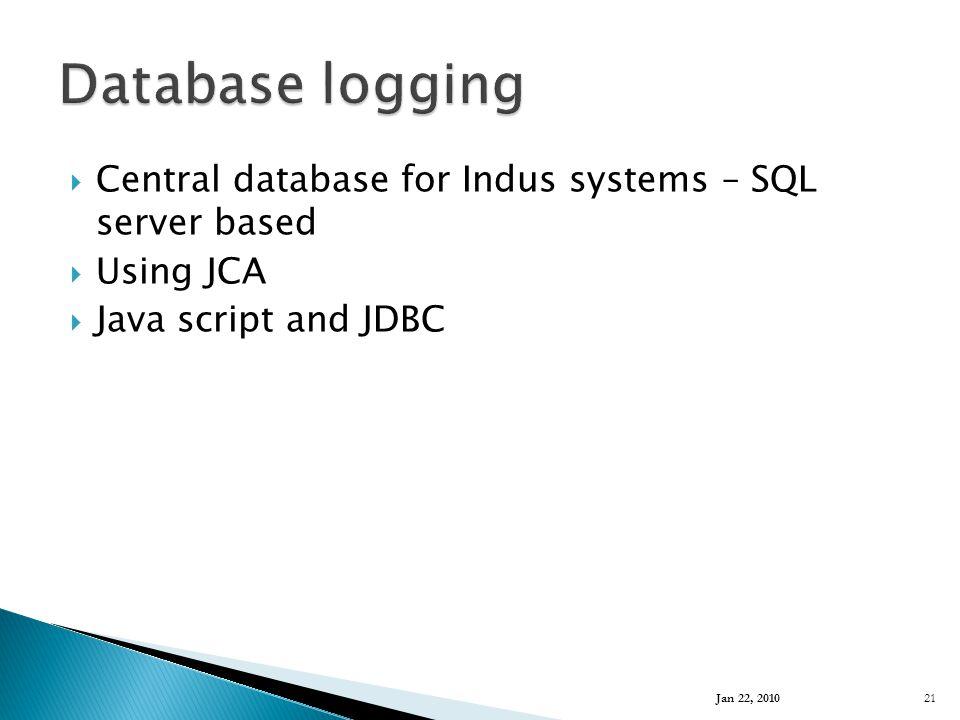  Central database for Indus systems – SQL server based  Using JCA  Java script and JDBC Jan 22, 2010 21