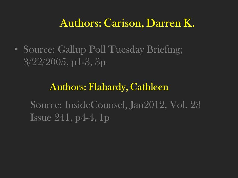 Authors: Carison, Darren K.