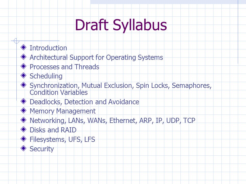 Draft Syllabus Introduction Architectural Support for Operating Systems Processes and Threads Scheduling Synchronization, Mutual Exclusion, Spin Locks