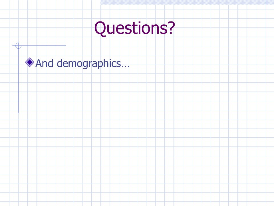 Questions And demographics…