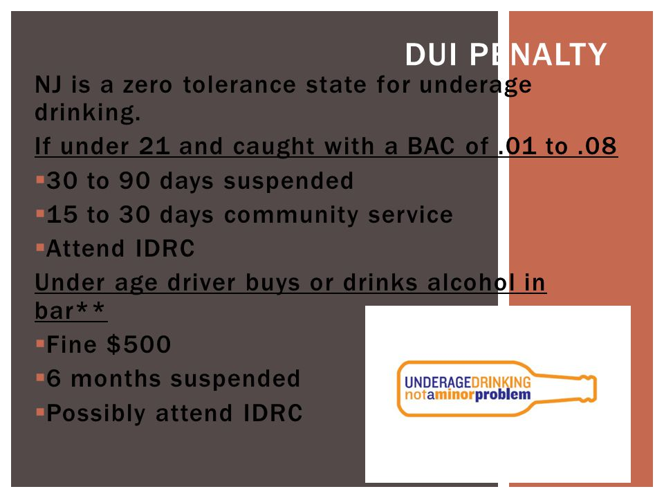 NJ is a zero tolerance state for underage drinking.