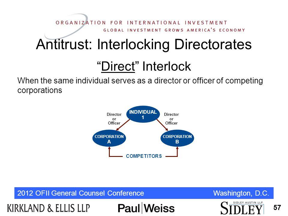 "2012 OFII General Counsel Conference Washington, D.C. Antitrust: Interlocking Directorates ""Direct"" Interlock When the same individual serves as a dir"