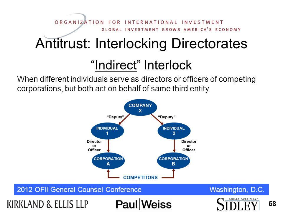 "2012 OFII General Counsel Conference Washington, D.C. Antitrust: Interlocking Directorates ""Indirect"" Interlock When different individuals serve as di"