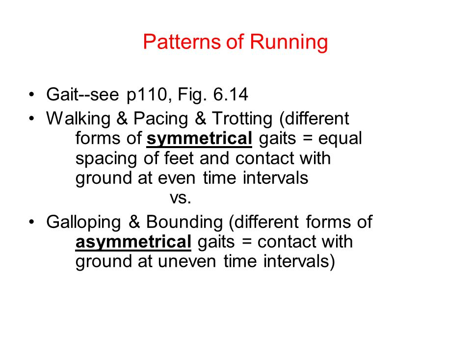 Patterns of Running Gait--see p110, Fig.