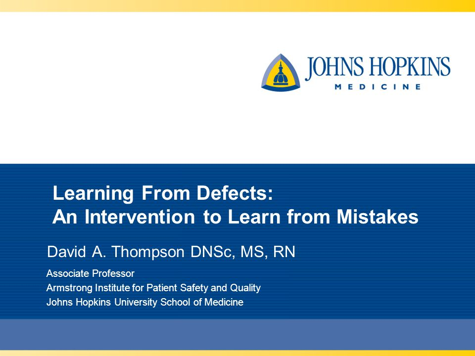 Learning From Defects: An Intervention to Learn from Mistakes David A.