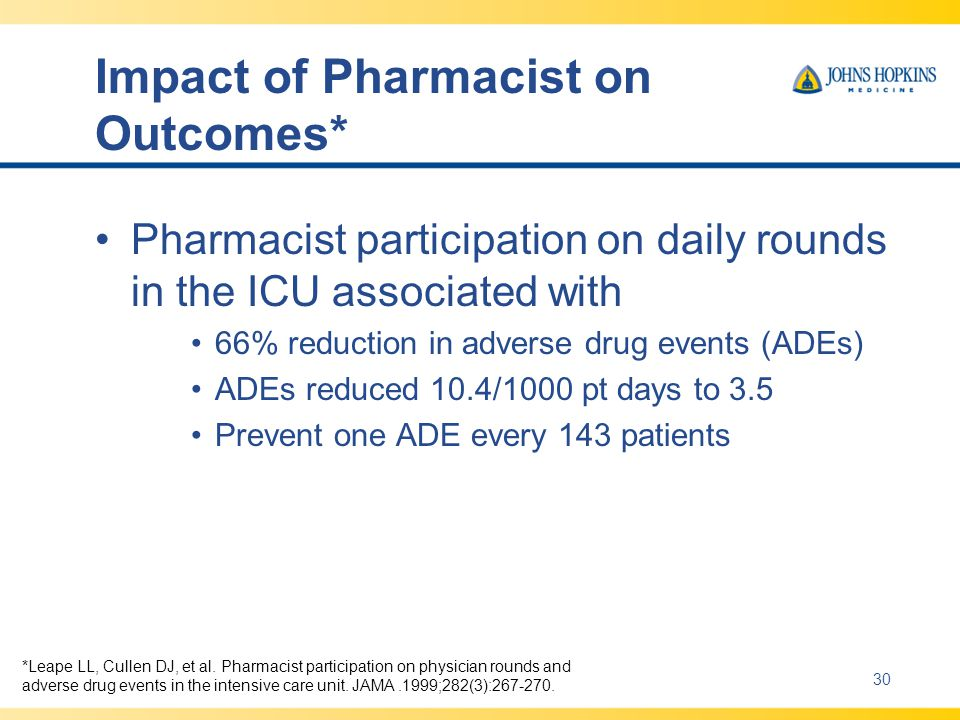 Impact of Pharmacist on Outcomes* Pharmacist participation on daily rounds in the ICU associated with 66% reduction in adverse drug events (ADEs) ADEs reduced 10.4/1000 pt days to 3.5 Prevent one ADE every 143 patients Leape *Leape LL, Cullen DJ, et al.