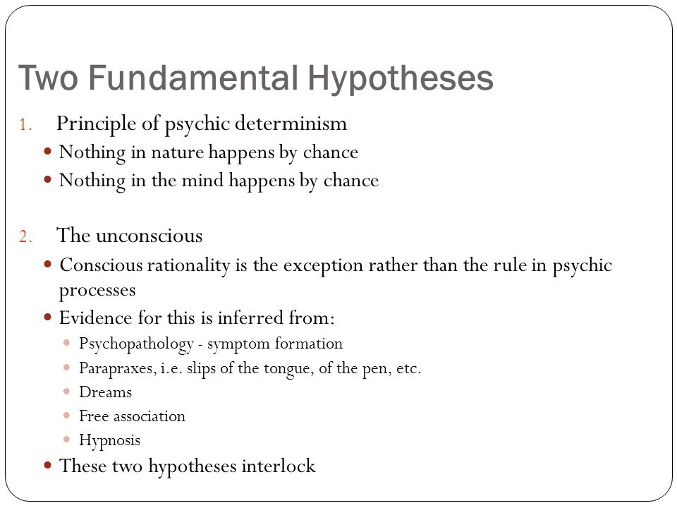 Two Fundamental Hypotheses 1.