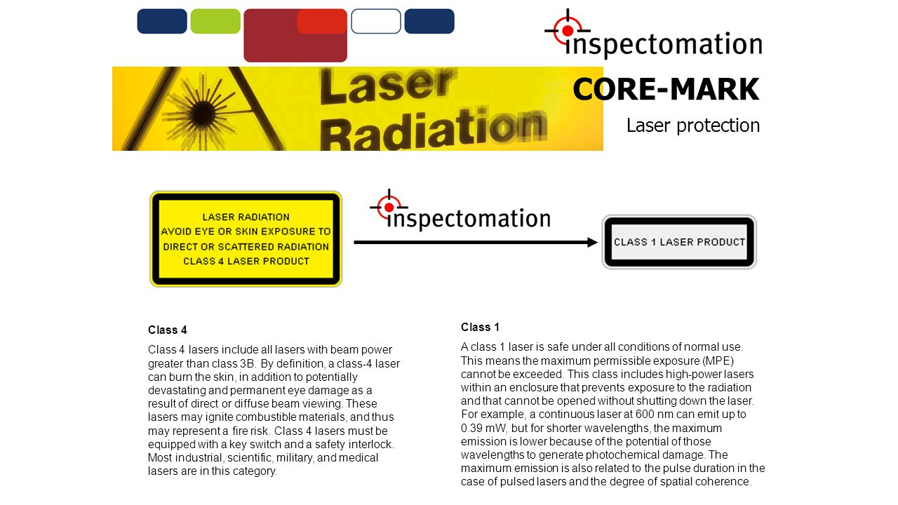 CORE-MARK Laser protection Class 4 Class 4 lasers include all lasers with beam power greater than class 3B.