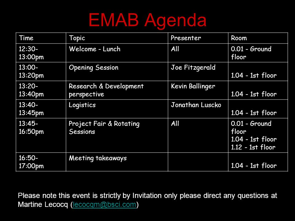 EMAB Agenda TimeTopicPresenterRoom 12:30- 13:00pm Welcome - LunchAll 0.01 - Ground floor 13:00- 13:20pm Opening SessionJoe Fitzgerald 1.04 - 1st floor