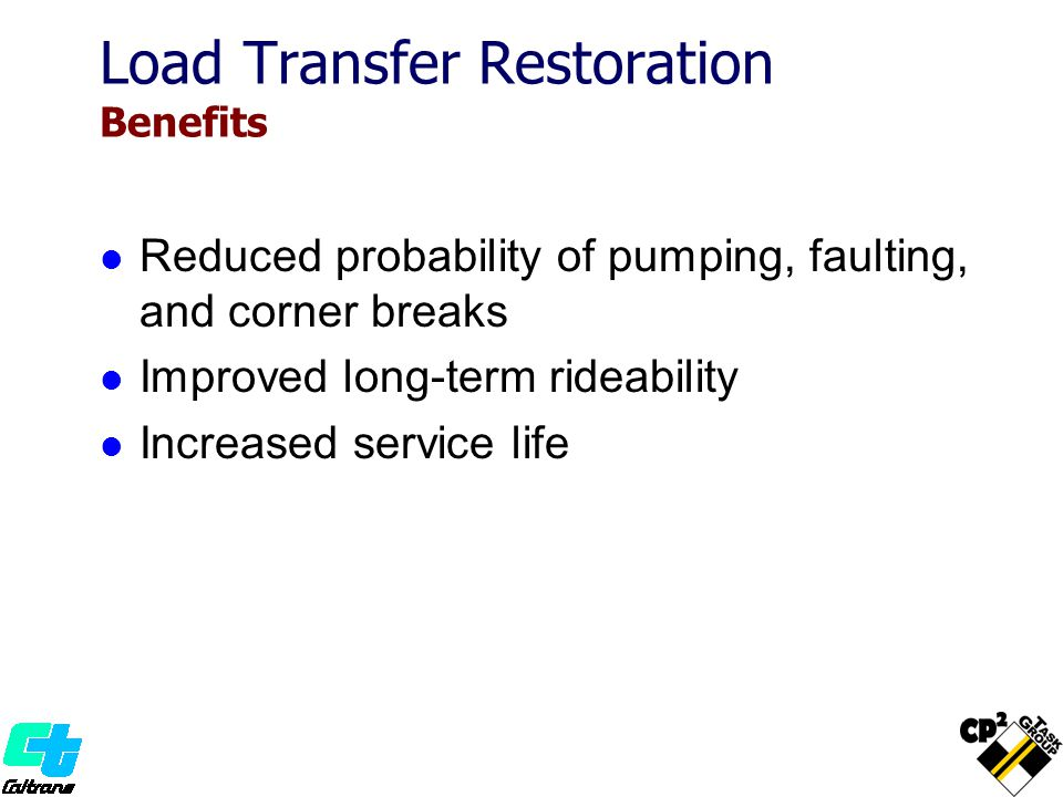 Load Transfer Restoration Benefits Reduced probability of pumping, faulting, and corner breaks Improved long-term rideability Increased service life