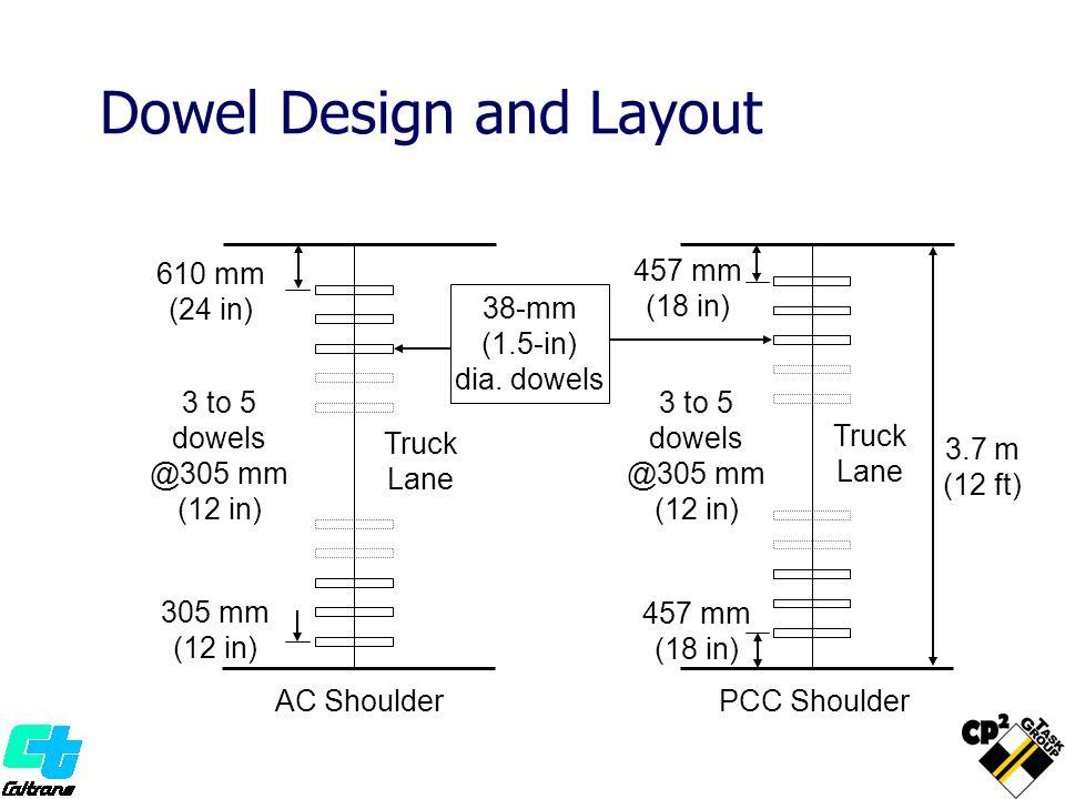 3.7 m (12 ft) 610 mm (24 in) 305 mm (12 in) 3 to 5 dowels @305 mm (12 in) Truck Lane AC Shoulder 457 mm (18 in) 457 mm (18 in) PCC Shoulder Truck Lane Dowel Design and Layout 3 to 5 dowels @305 mm (12 in) 38-mm (1.5-in) dia.