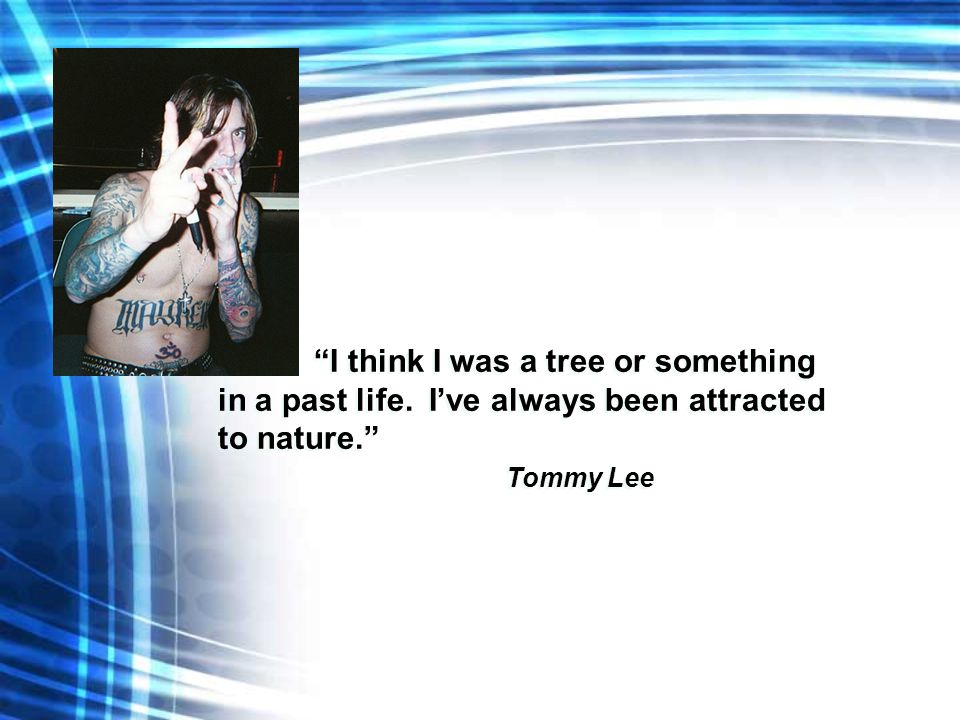 """I think I was a tree or something in a past life. I've always been attracted to nature."" Tommy Lee ""I think I was a tree or something in a past life."