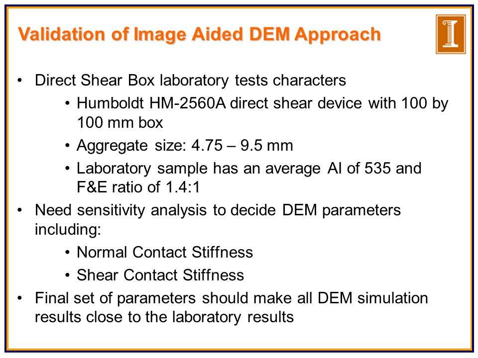 Validation of Image Aided DEM Approach Direct Shear Box laboratory tests characters Humboldt HM-2560A direct shear device with 100 by 100 mm box Aggregate size: 4.75 – 9.5 mm Laboratory sample has an average AI of 535 and F&E ratio of 1.4:1 Need sensitivity analysis to decide DEM parameters including: Normal Contact Stiffness Shear Contact Stiffness Final set of parameters should make all DEM simulation results close to the laboratory results