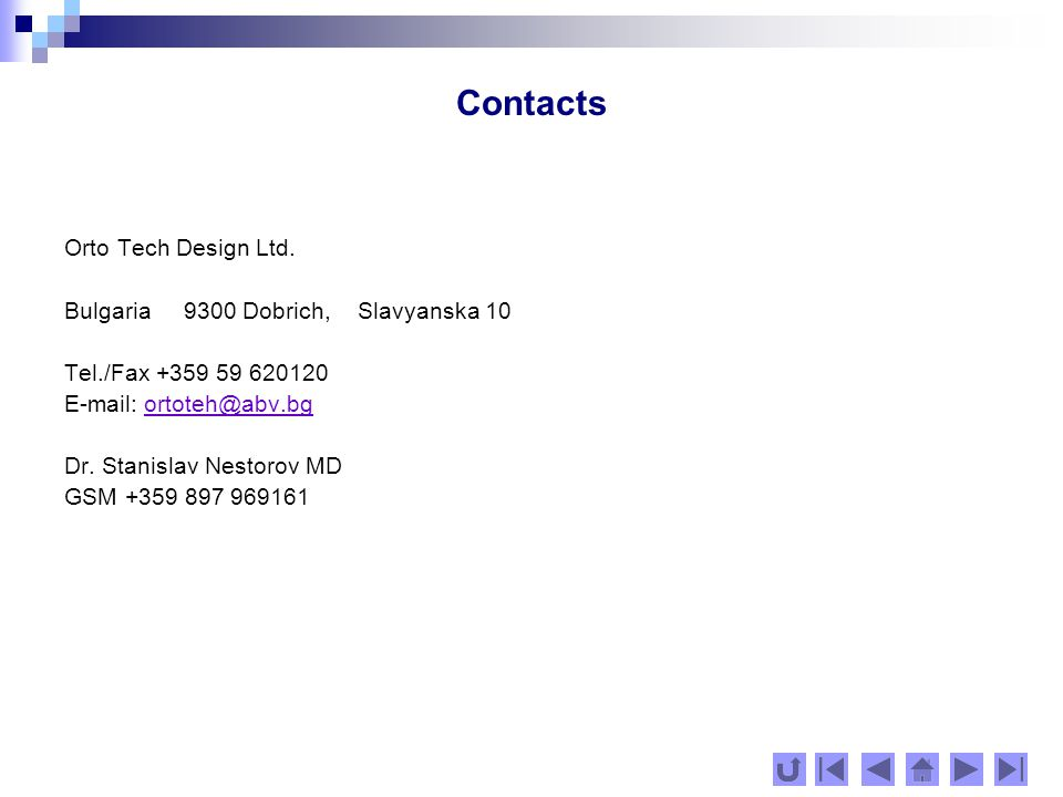 Contacts Orto Tech Design Ltd.