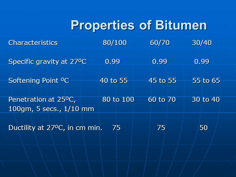 Properties of BITUMENBITUMEN