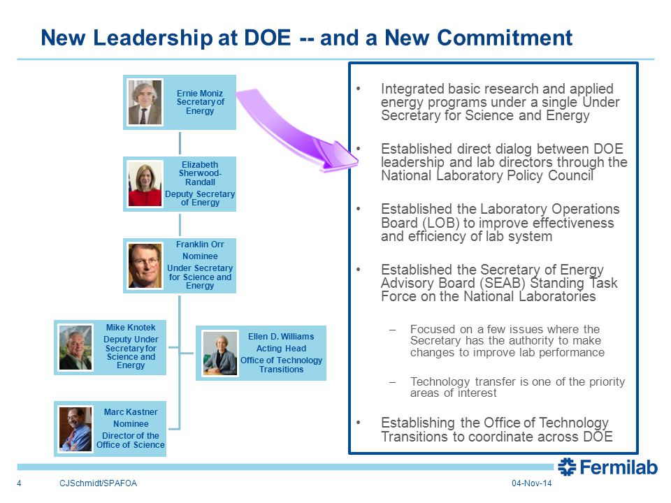 New Leadership at DOE -- and a New Commitment 4 Ernie Moniz Secretary of Energy Elizabeth Sherwood- Randall Deputy Secretary of Energy Franklin Orr Nominee Under Secretary for Science and Energy Marc Kastner Nominee Director of the Office of Science Ellen D.