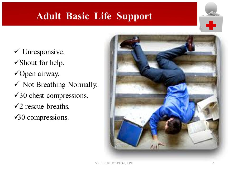 Adult Basic Life Support JPG Unresponsive. Shout for help. Open airway. Not Breathing Normally. 30 chest compressions. 2 rescue breaths. 30 compressio