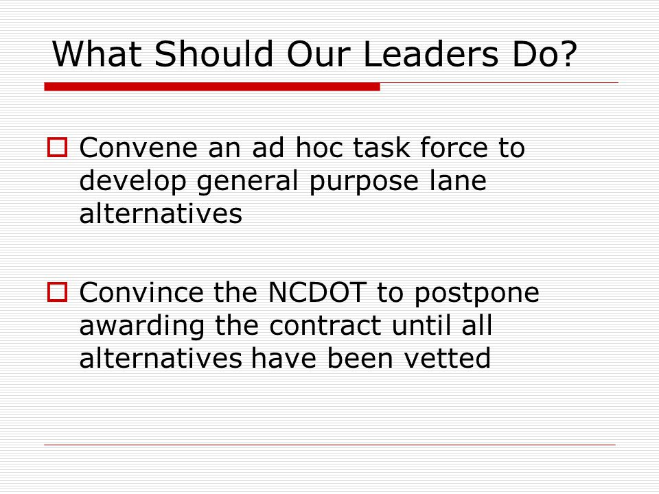 What Should Our Leaders Do.