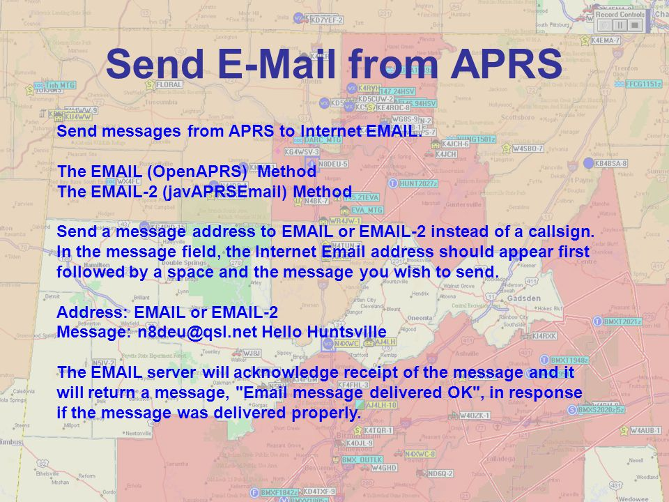 Send E-Mail from APRS Send messages from APRS to Internet EMAIL. The EMAIL (OpenAPRS) Method The EMAIL-2 (javAPRSEmail) Method Send a message address