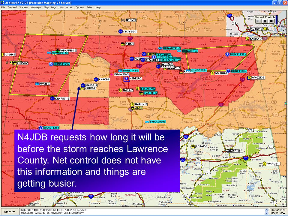 N4JDB requests how long it will be before the storm reaches Lawrence County. Net control does not have this information and things are getting busier.