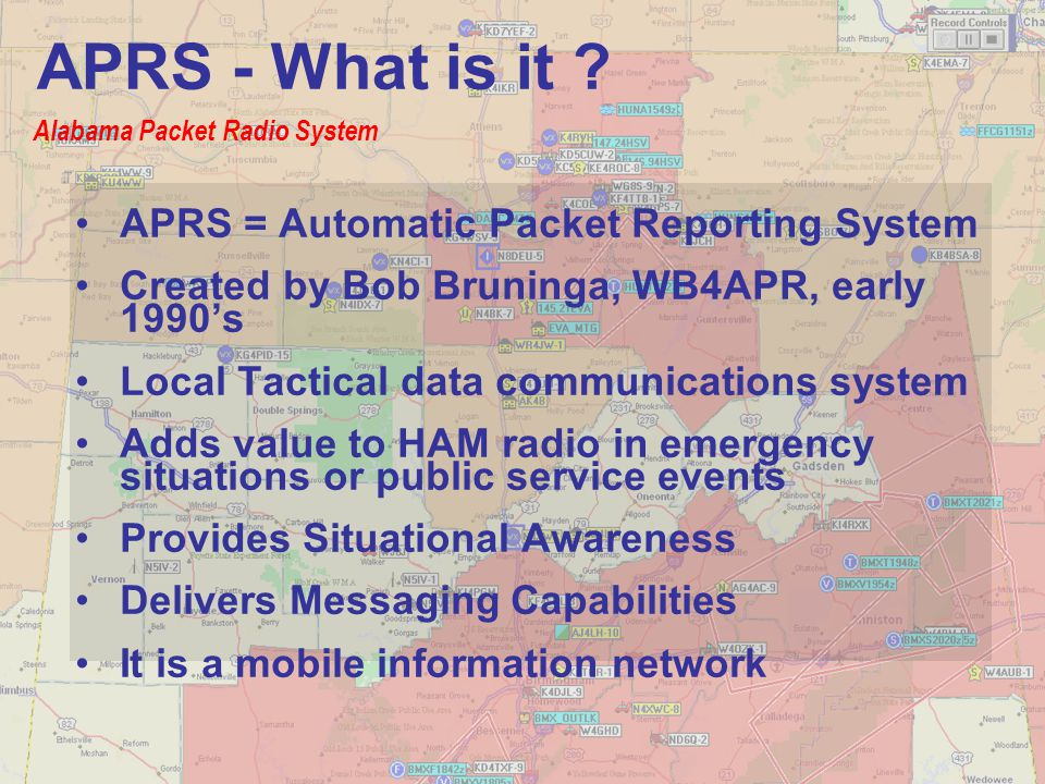 Delivers instant NWS weather bulletins and coordinates Informs you how close you are to the Area of Maximum Concern See where everybody is located without asking, especially SKYWARN weather spotters (GPS not required) Virtually any 2M or HF radio can be used for APRS more than just a simple tracking system… APRS - What is it ?