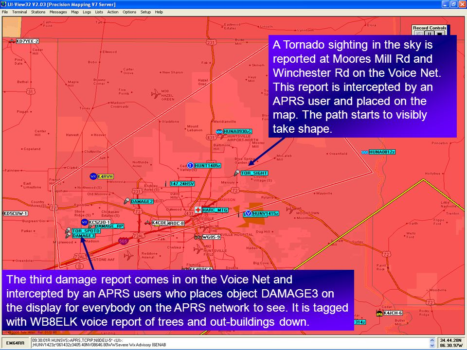 The third damage report comes in on the Voice Net and intercepted by an APRS users who places object DAMAGE3 on the display for everybody on the APRS