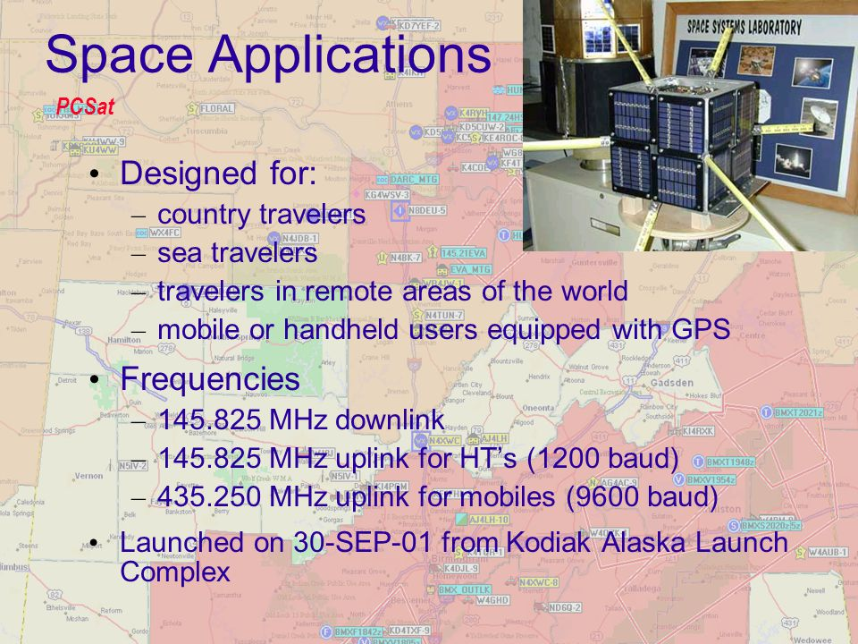 Space Applications Designed for: – country travelers – sea travelers – travelers in remote areas of the world – mobile or handheld users equipped with