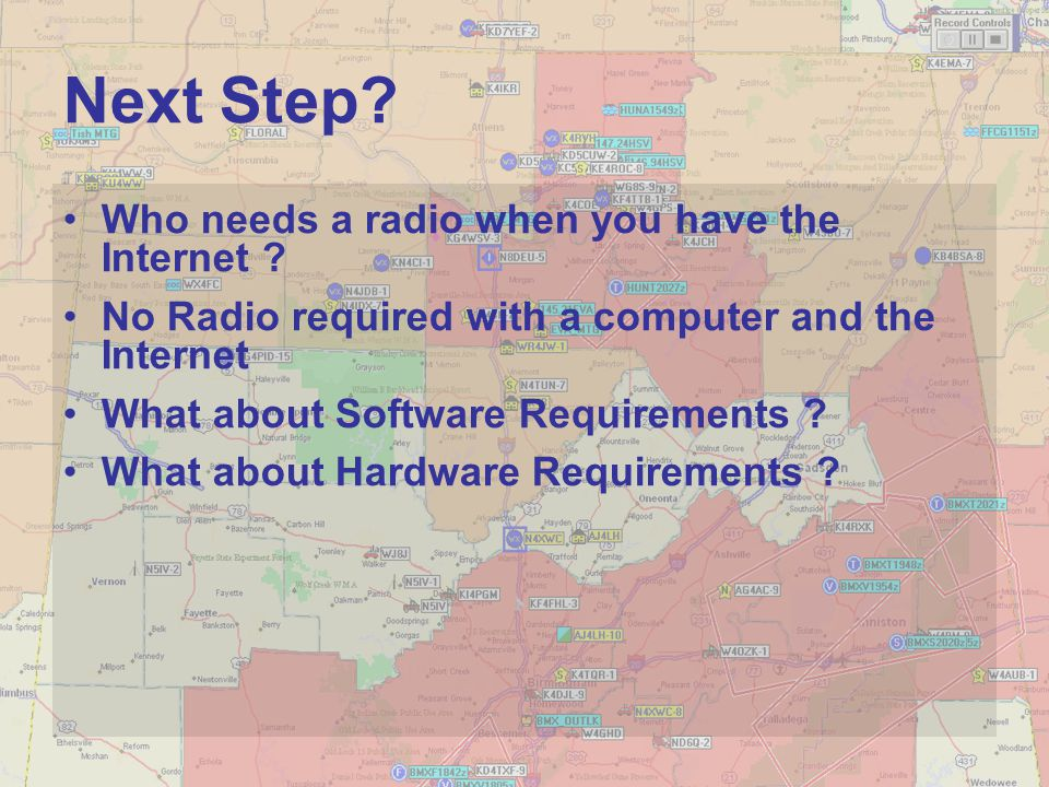 Next Step? Who needs a radio when you have the Internet ? No Radio required with a computer and the Internet What about Software Requirements ? What a