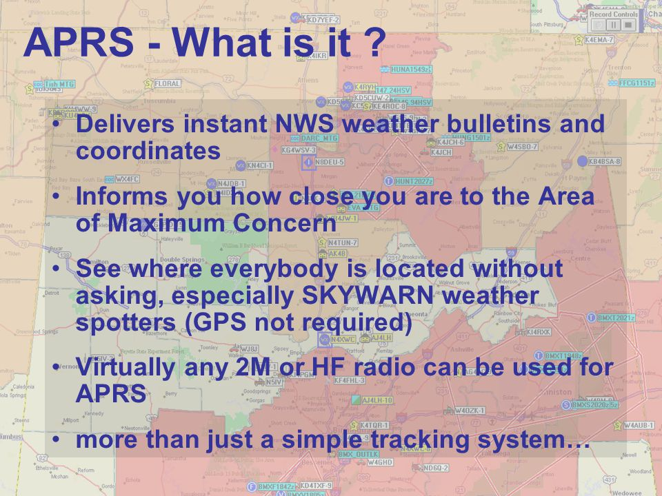 Delivers instant NWS weather bulletins and coordinates Informs you how close you are to the Area of Maximum Concern See where everybody is located wit