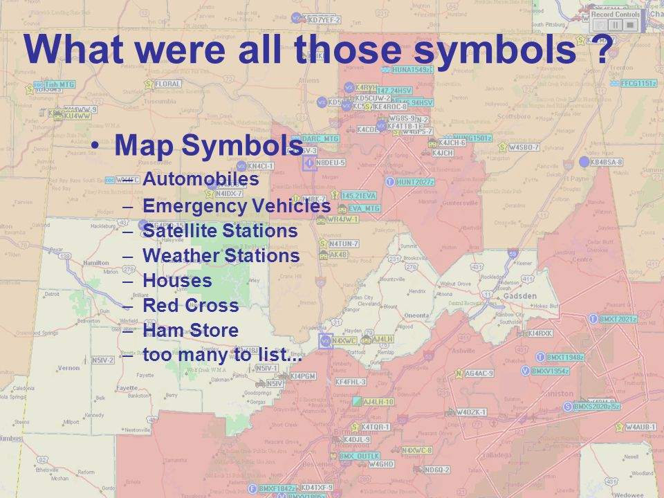 What were all those symbols ? Map Symbols –Automobiles –Emergency Vehicles –Satellite Stations –Weather Stations –Houses –Red Cross –Ham Store –too ma