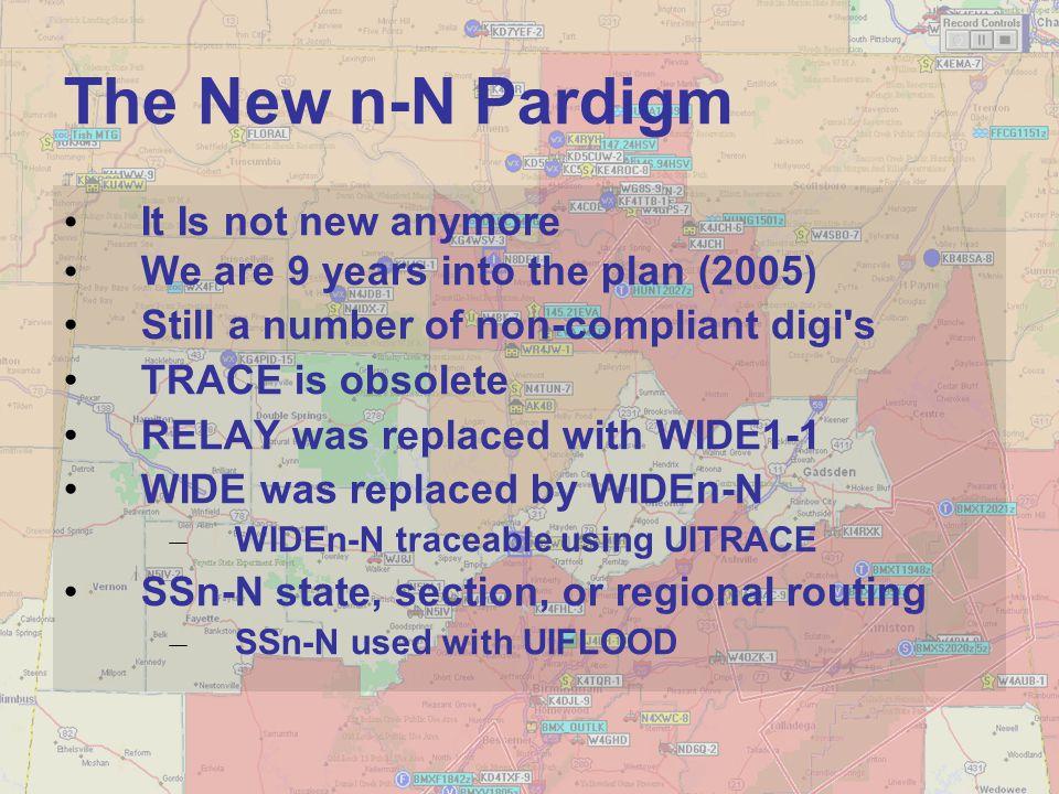 N8DEU WIDEn-n WIDE1-1 WIDEn-n No need to know any Call Signs WIDEn-n IGATE N8DEU > APRS,WIDE1-1,WIDE2-1 N8DEU > APRS,DIGI1,WIDE1*,WIDE2-1:DIGI1,WIDE1,DIGI2,WIDE2*:WIDE1-1,WIDE2-1: WIDE1-1 Generic Digipeater Routing