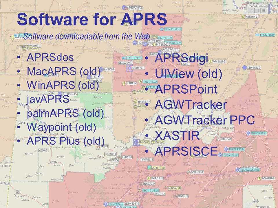Software for APRS APRSdos MacAPRS (old) WinAPRS (old) javAPRS palmAPRS (old) Waypoint (old) APRS Plus (old) APRSdigi UIView (old) APRSPoint AGWTracker