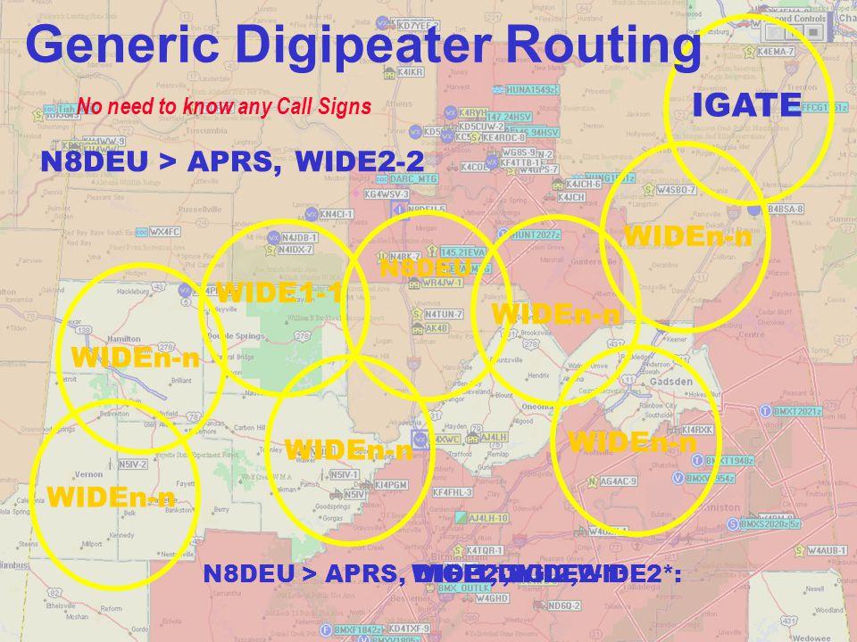 AL2-2:AL2*:AL2-1: N8DEU ALn-n WIDEn-n No need to know any Call Signs WIDEn-n IGATE State Boundary ALn-n N8DEU > APRS,AL2-2 N8DEU > APRS, Generic Digipeater Routing