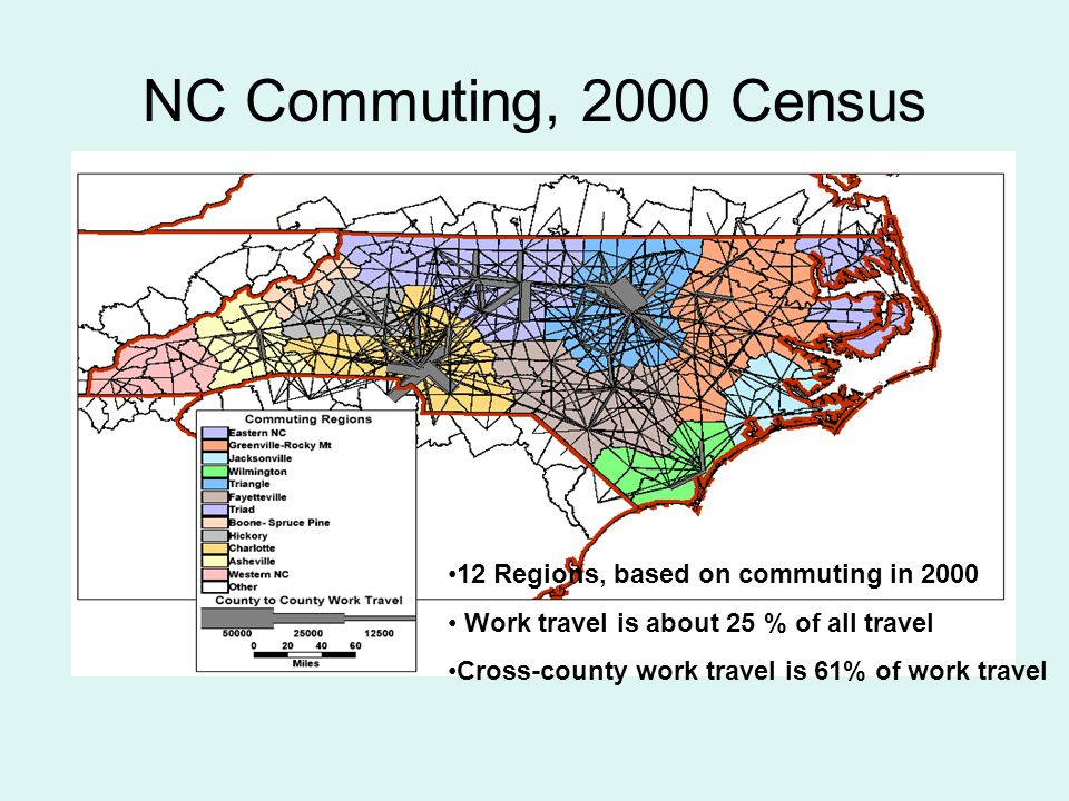 NC Commuting, 2000 Census 12 Regions, based on commuting in 2000 Work travel is about 25 % of all travel Cross-county work travel is 61% of work travel