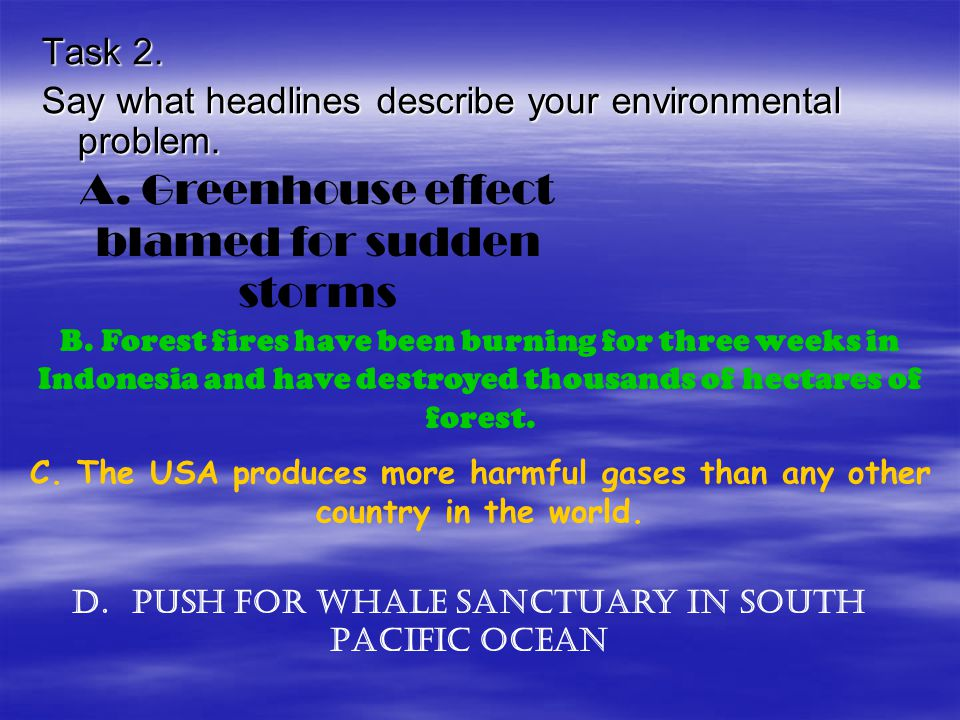 Task 2.Say what headlines describe your environmental problem.