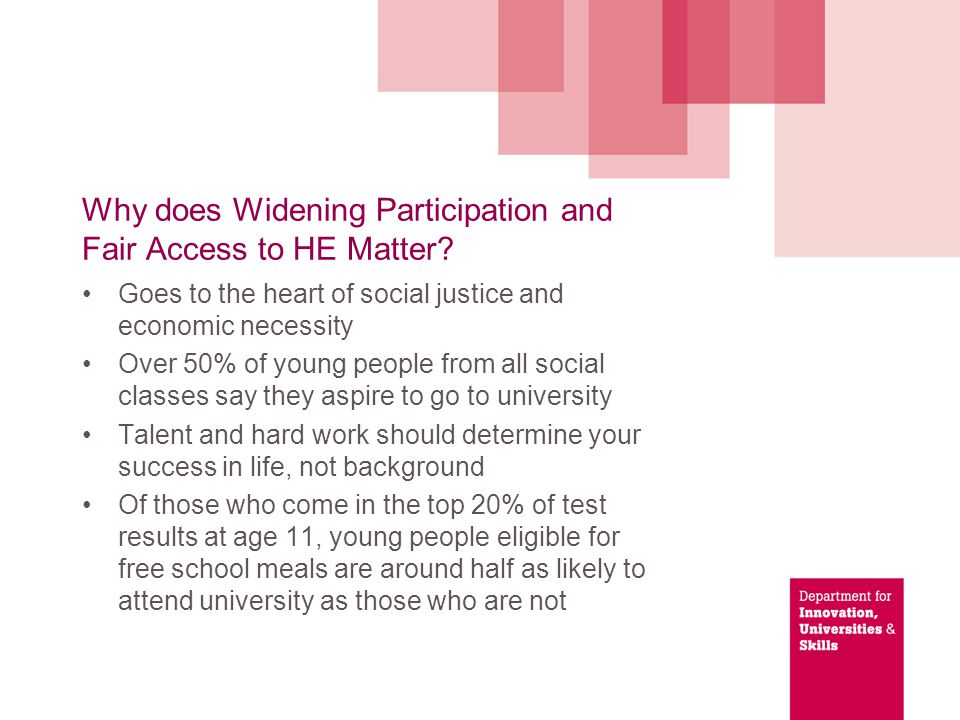 Why does Widening Participation and Fair Access to HE Matter.