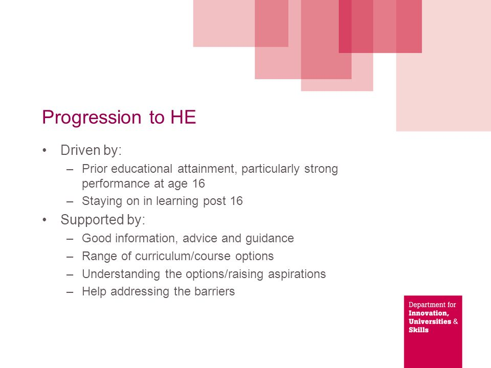 Progression to HE Driven by: –Prior educational attainment, particularly strong performance at age 16 –Staying on in learning post 16 Supported by: –Good information, advice and guidance –Range of curriculum/course options –Understanding the options/raising aspirations –Help addressing the barriers