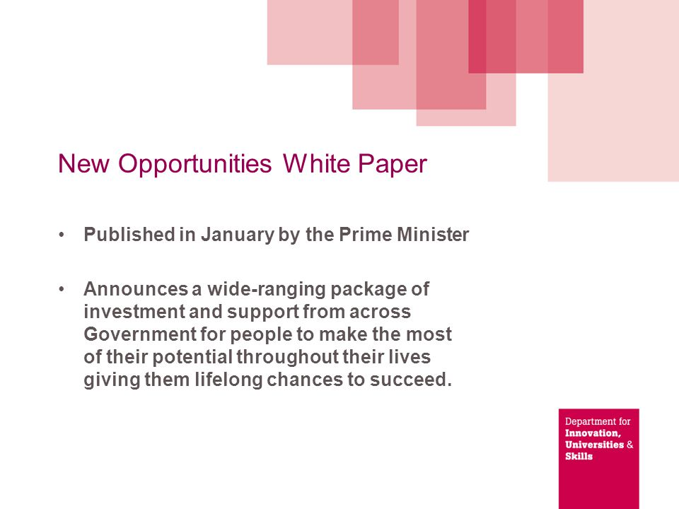 New Opportunities White Paper: widen participation and fair access to higher education Working with DCSF to guarantee that by 2012, pupils from low income backgrounds who are roughly in the top 50 per cent of performers get a comprehensive package of assistance to get to university 11 selective universities increasing outreach work to identify talented students from disadvantaged backgrounds to offer them the chance to show what they can achieve, given the chance