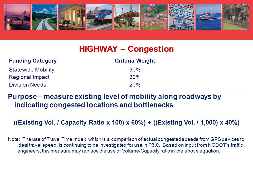 Purpose – measure existing level of mobility along roadways by indicating congested locations and bottlenecks ((Existing Vol.